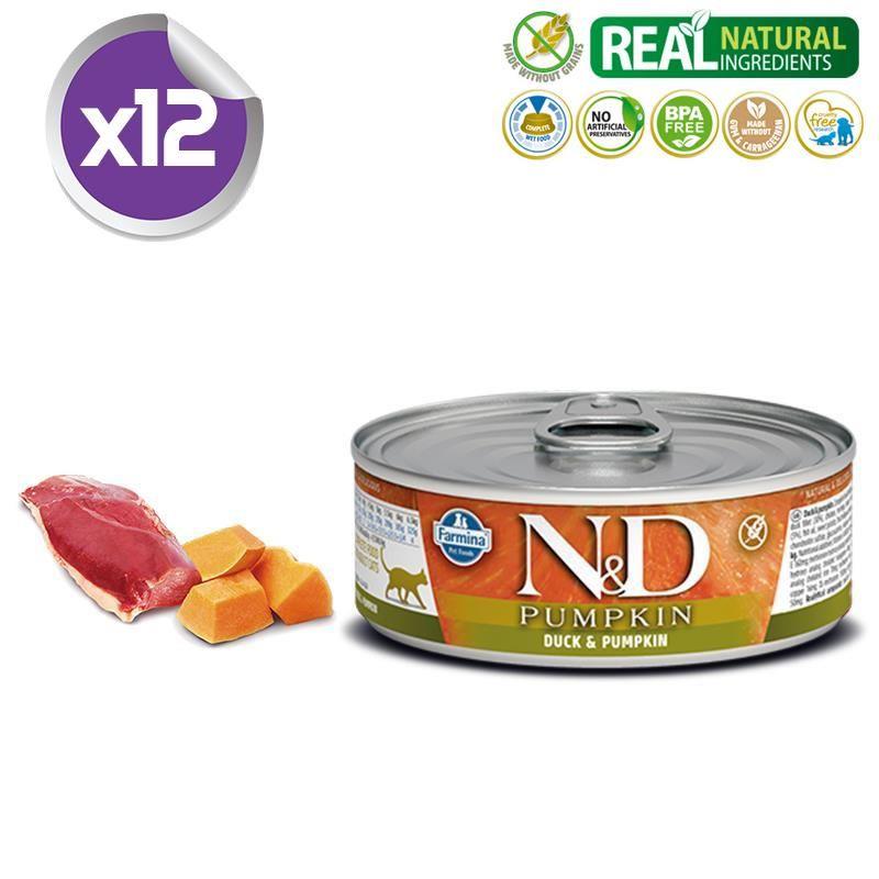 ND Balkabaklı Tahılsız Ördekli Yetişkin Kedi Konservesi 80 Gr X 12