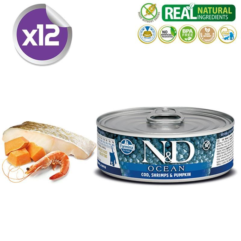 ND Ocean Tahılsız M.Balıklı Karidesli Yavru Kedi Konservesi 80 Gr X 12
