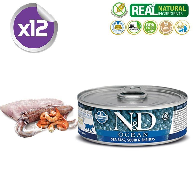 ND Ocean Tahılsız Levrek ve Mürekkep Balıklı Karidesli Yetişkin Kedi Konservesi 80 Gr X 12