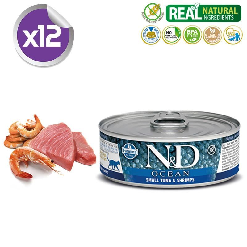 ND Ocean Tahılsız Ton ve Karidesli Yetişkin Kedi Konservesi 80 Gr X 12