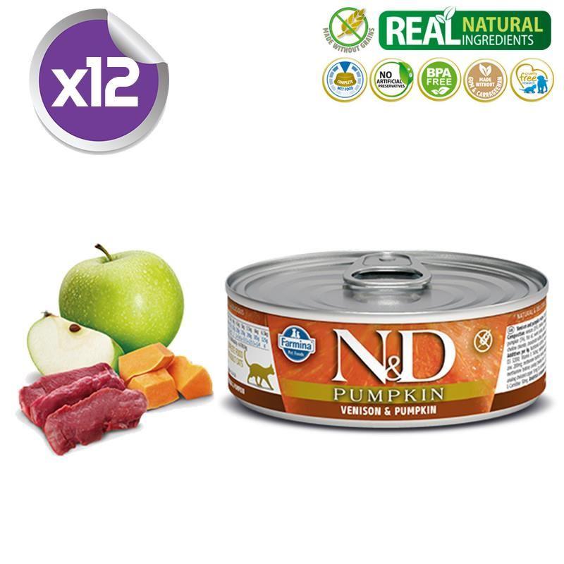 ND Balkabaklı Tahılsız Geyik Etli Yetişkin Kedi Konservesi 80 Gr x12