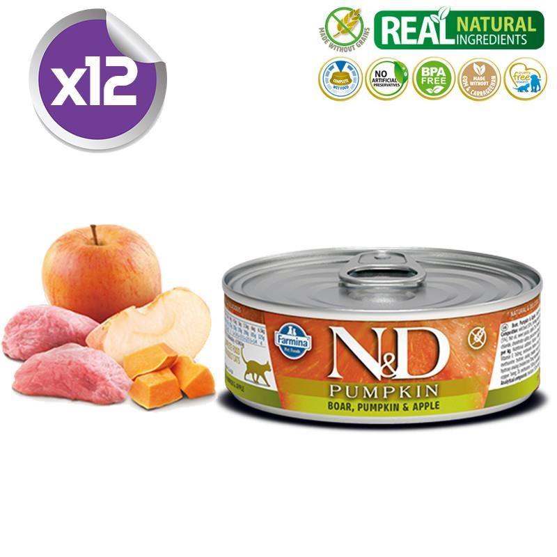 ND Balkabaklı Tahılsız Yaban Domuzlu Elmalı Yetişkin Kedi Konservesi 80 Gr X 12