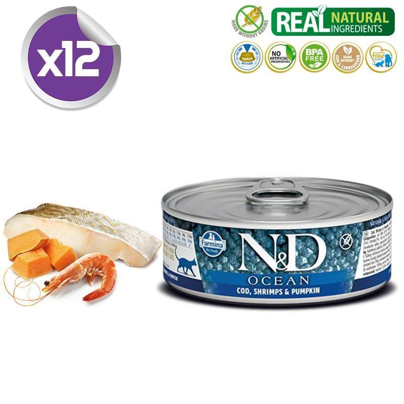 ND Ocean Tahılsız M.Balıklı Karidesli Yetişkin Kedi Konservesi 80 Gr X 12
