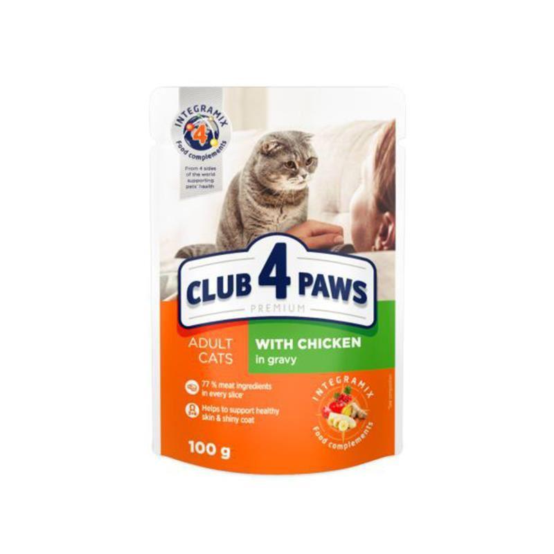 Club4Paws Premium Pouch Tavuklu Kedi Konservesi 100 Gr