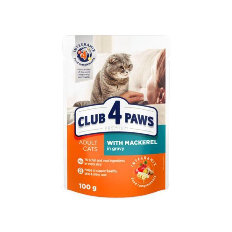 Club4Paws Premium Pouch Uskumrulu Kedi Konservesi 100 Gr