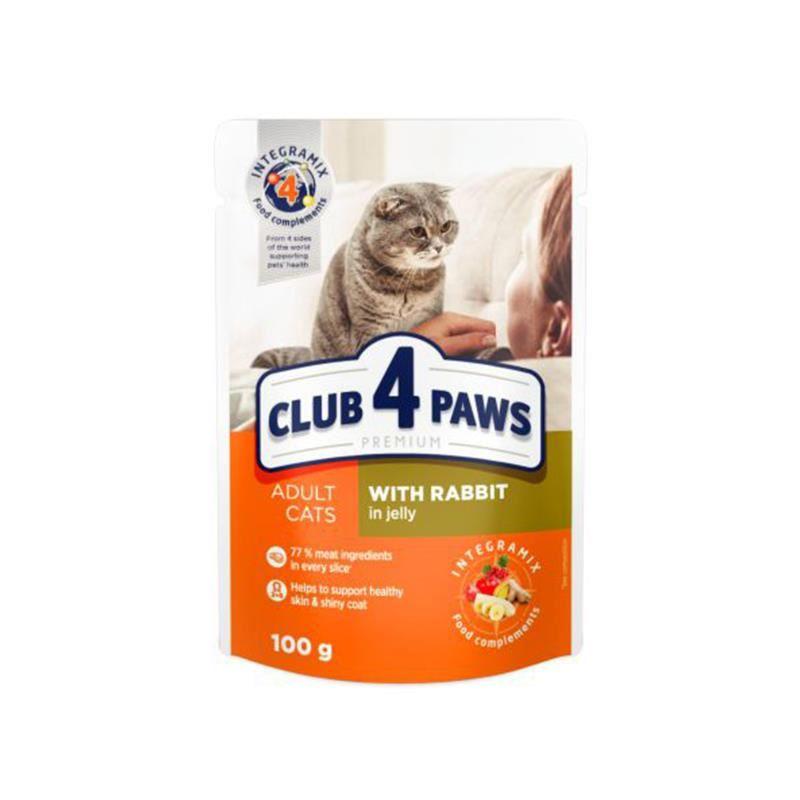 Club4Paws Premium Pouch Tavşanlı Kedi Konservesi 100 Gr