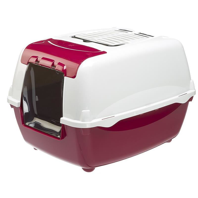 Ferplast Bella Cabrio Filtreli Kapalı Kedi Tuvaleti Bordo 43x56x38 Cm