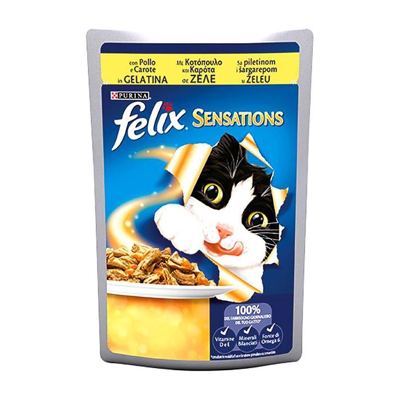 Felix Sensations Tavuklu ve Havuçlu Yaş Kedi Maması 100 Gr