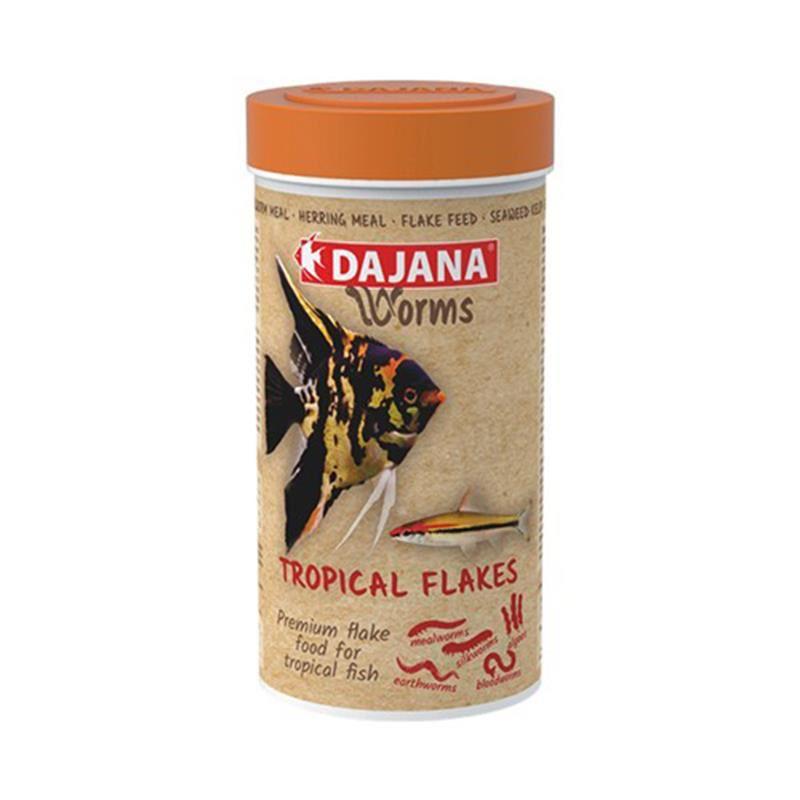 Dajana Worms Tropical Flakes Kurt İçerikli Pul Yem 250 Ml 45 Gr
