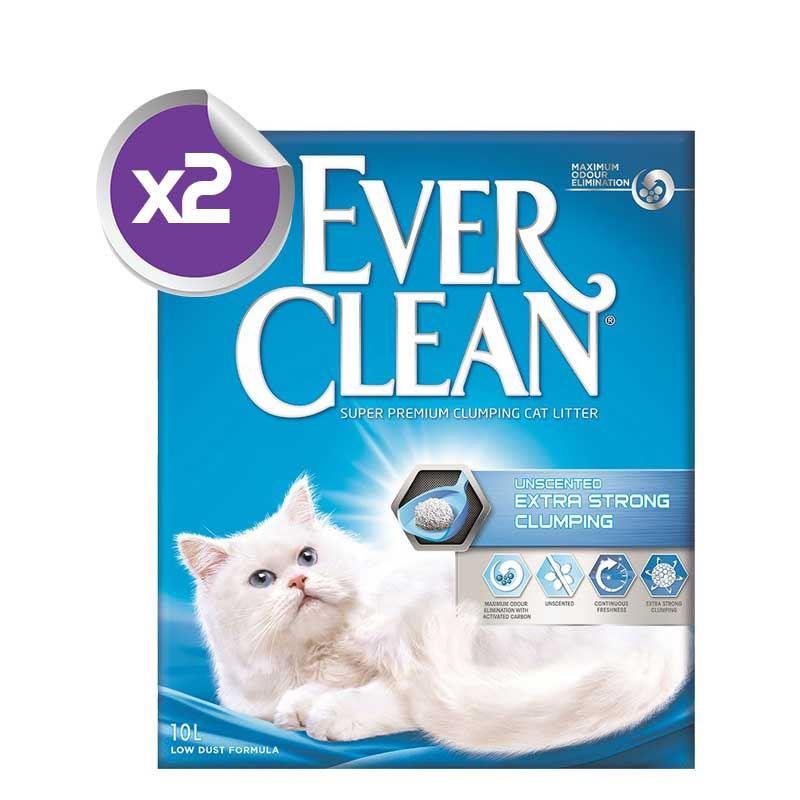 Ever Clean Extra Strong Unscented Ekstra Güçlü Kokusuz Kedi Kumu 10 Lt x2 ADET