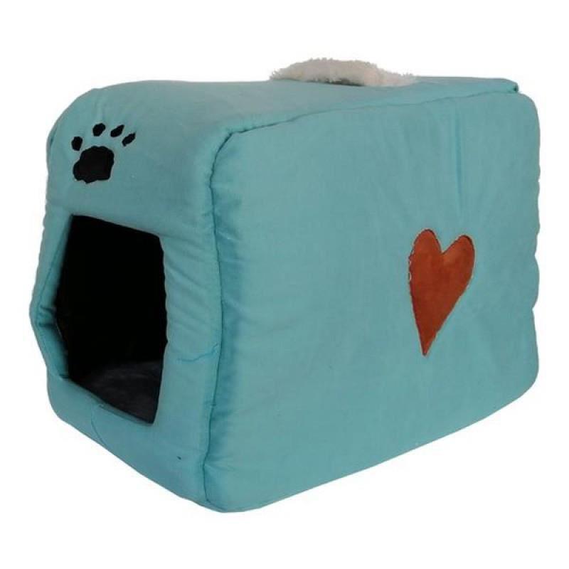 Küçük Irk Köpek ve Kedi Yatağı Kalpli Çanta Model 35*55 Cm Turkuaz