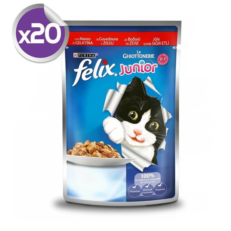 Felix Junior Sığır Etli Yavru Pouch Yaş Kedi Maması 100 Gr X 20