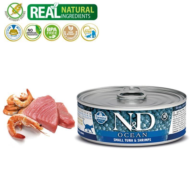 ND Ocean Tahılsız Ton ve Karidesli Yetişkin Kedi Konservesi 80 Gr
