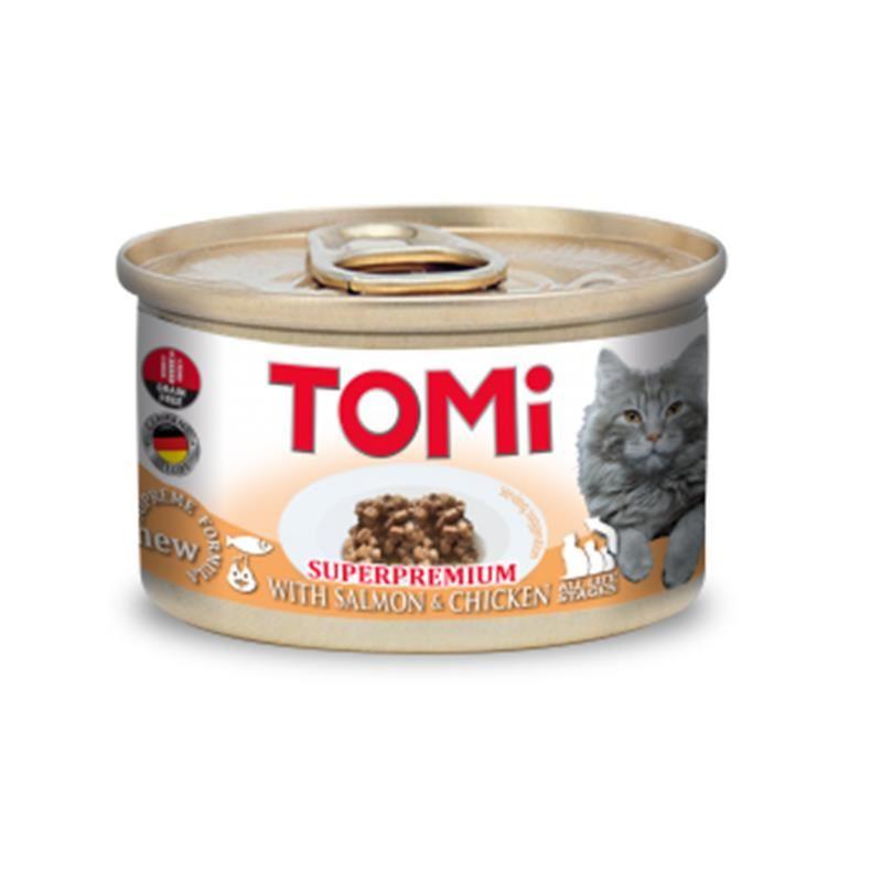 Tomi Superpremium Parça Etli Somon ve Tavuklu Tahılsız Kedi Konservesi 85 Gr
