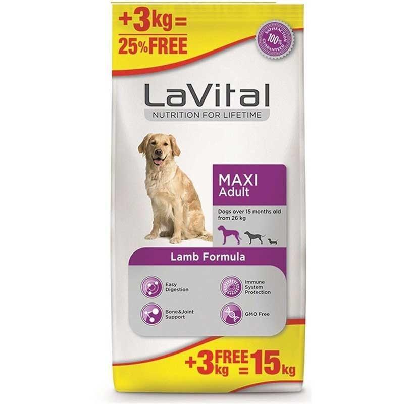 Lavital Maxi Adult Kuzu Etli Büyük Irk Köpek Maması 12+3 kg