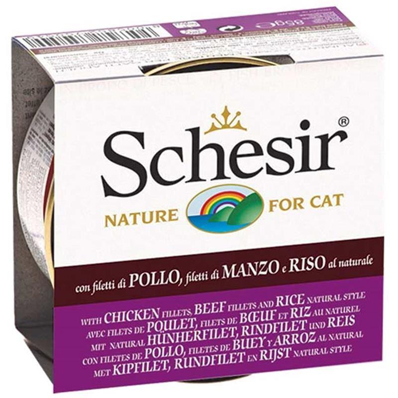 Schesir Doğal Tavuk Sığır Eti ve Pirinçli Kedi Konservesi 85 Gr