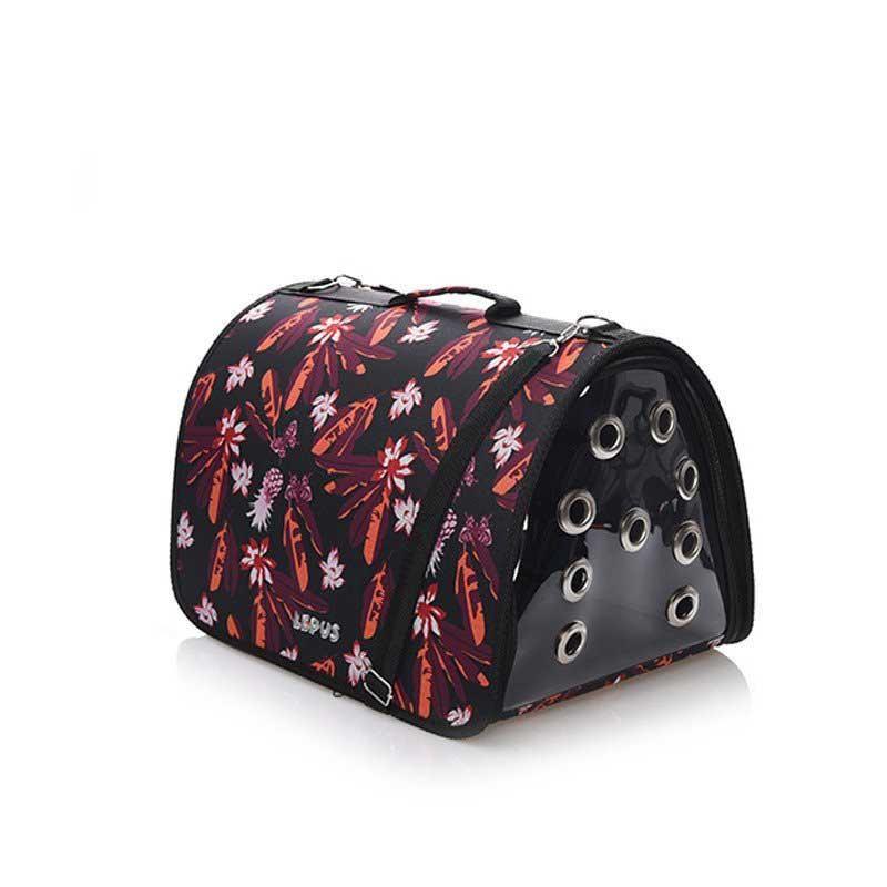 Lepus Fly Bag Kedi Köpek Taşıma Çantası Black Flower