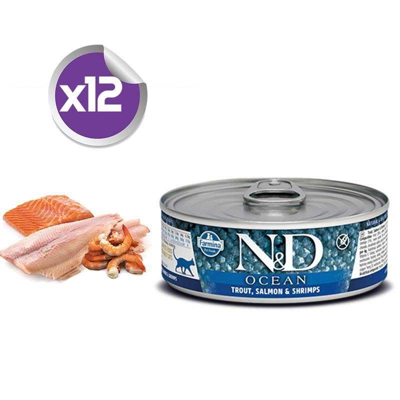 ND Ocean Tahılsız Alabalıklı,Somon ve Karidesli Yetişkin Kedi Konservesi 80 Gr x12