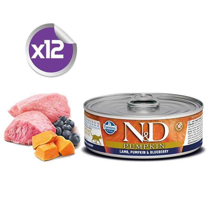 ND Balkabaklı Tahılsız Kuzulu Yaban Mersinli Yetişkin Kedi Konservesi 80 Gr x12