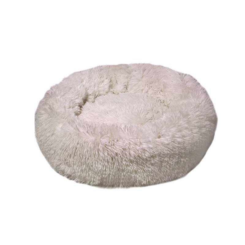Dubex Ponchik Peluş Kedi Köpek Yatağı Beyaz Medium