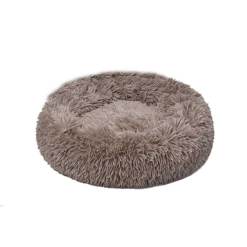Dubex Ponchik Peluş Kedi Köpek Yatağı Bej Small