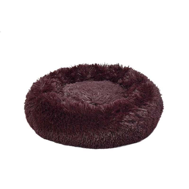Dubex Ponchik Peluş Kedi Köpek Yatağı Bordo Medium