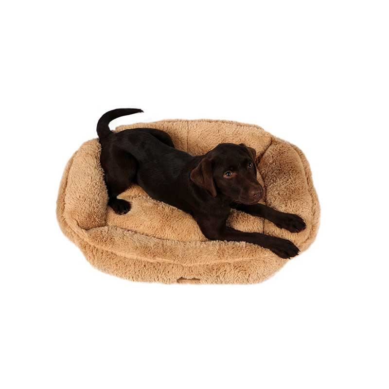 Dubex Brownie Peluş Kedi Köpek Yatağı Dikdörtgen Camel Medium
