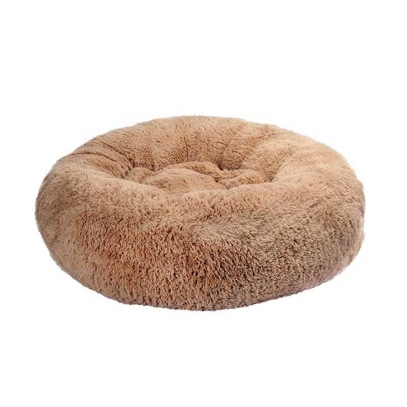 Dubex Brownie Peluş Kedi Köpek Yatağı Yuvarlak Camel Large