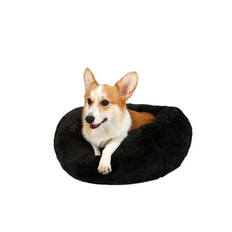 Dubex Brownie Peluş Kedi Köpek Yatağı Yuvarlak Antrasit Gri Medium
