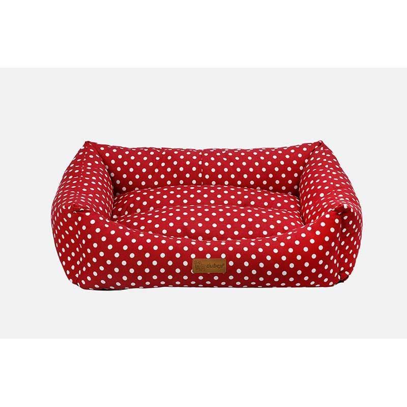 Dubex Makaron Kedi Köpek Yatağı Kırmızı Benekli XL