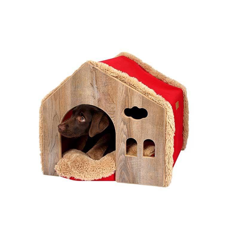 Dubex Ahşap Kedi Köpek Evi Kulübe Kırmızı