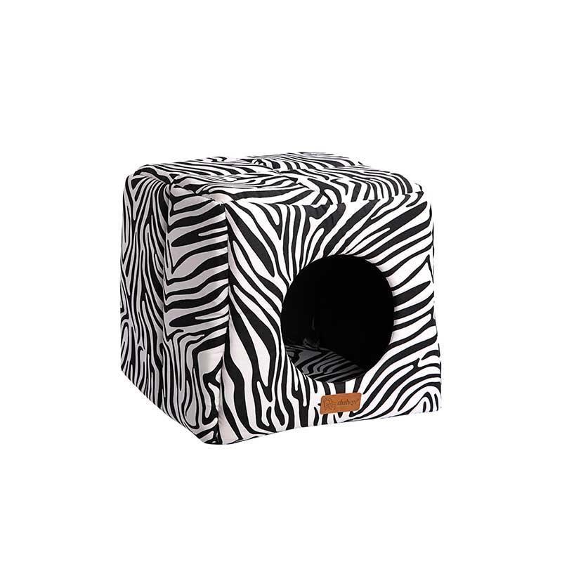 Dubex 3D Kulübe Kedi Köpek Kulübe Yatak Siyah Zebra