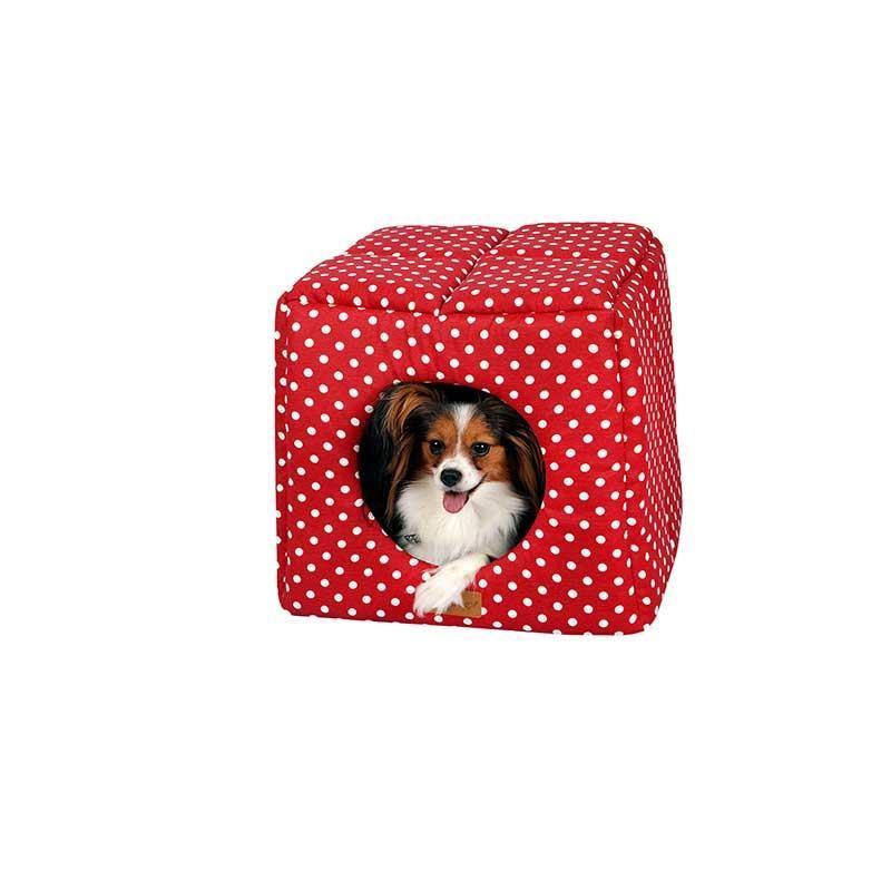 Dubex 3D Kulübe Kedi Köpek Kulübe Yatak Kırmızı Benekli