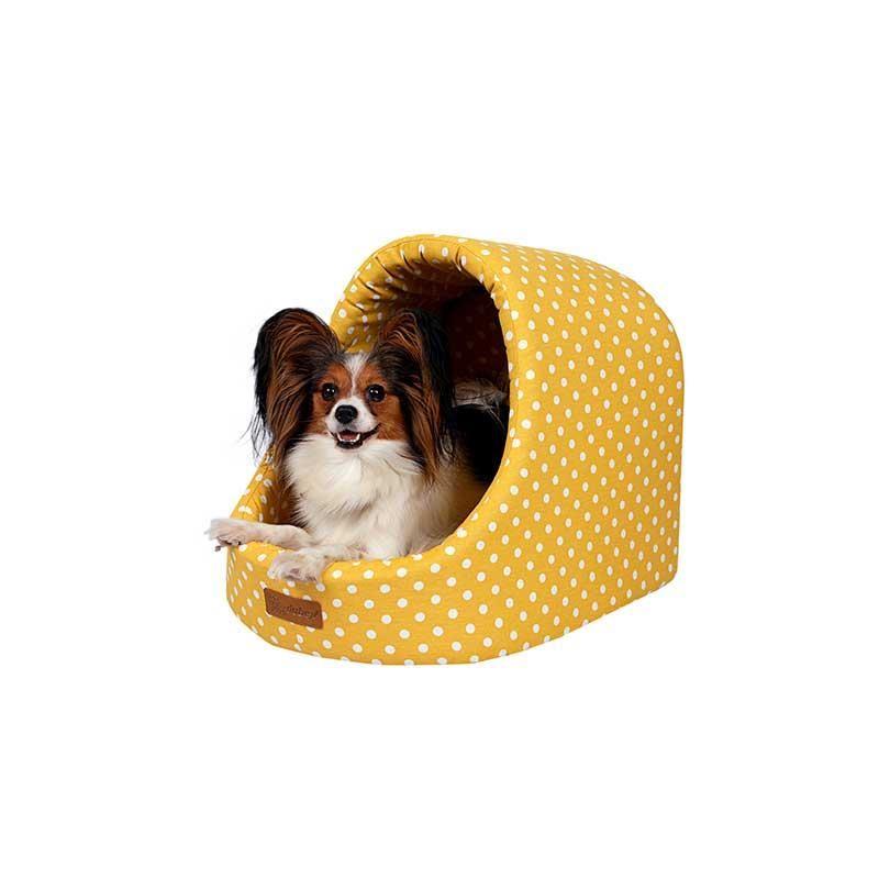 Dubex Mini Cave Kedi ve Köpek Kulübe Yatak Sarı Benekli