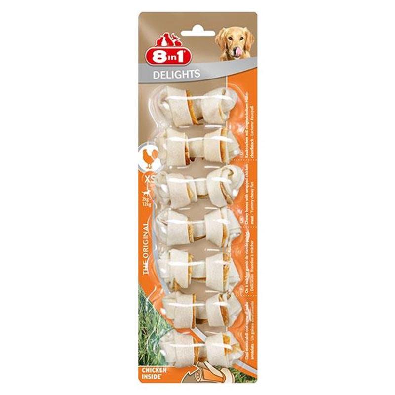 8in1 Delights Bones Düğümlü Tavuklu Köpek Kemiği XS 7 Li