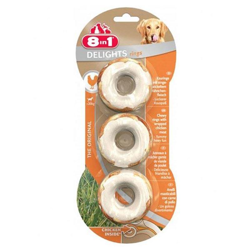 8in1 Delights Tavuklu Halka Köpek Kemiği 3 Adet