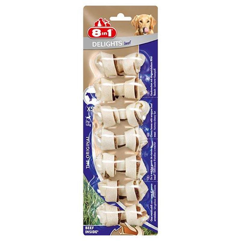 8in1 Delights Bones Biftekli Düğümlü Köpek Kemiği XS 7 Adet