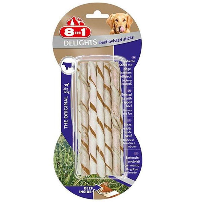 8in1 Delights Twisted Sticks Sığır Etli Köpek Kemiği 10 lu