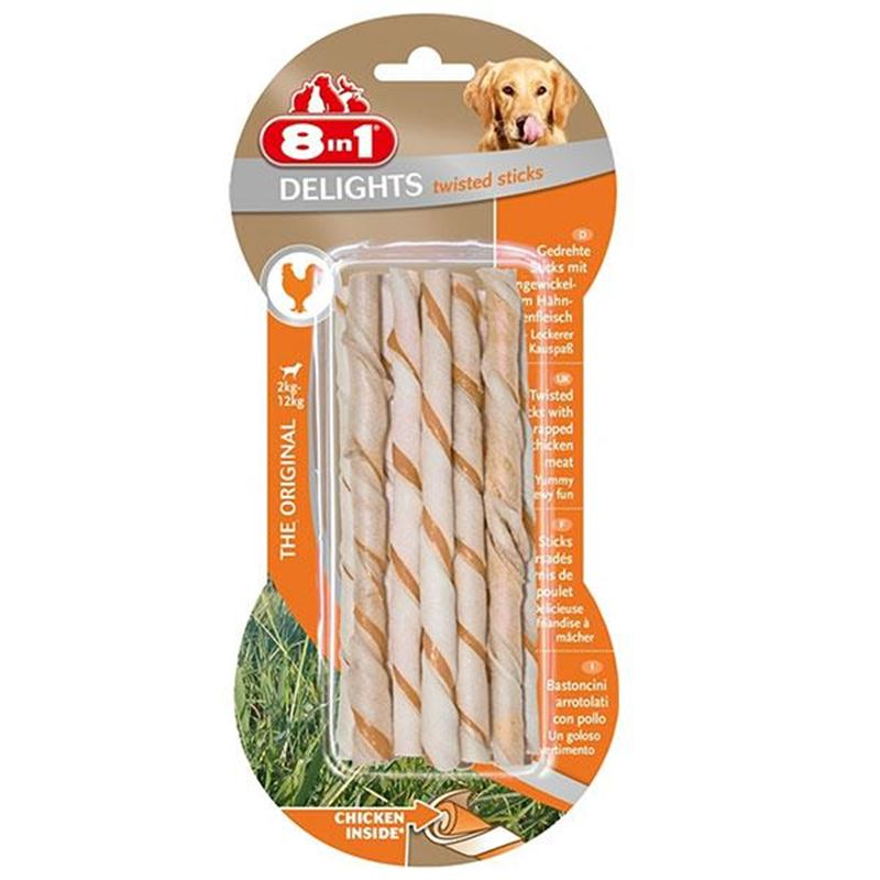 8in1 Delights Twisted Sticks Tavuk Etli Köpek Kemiği 10 lu