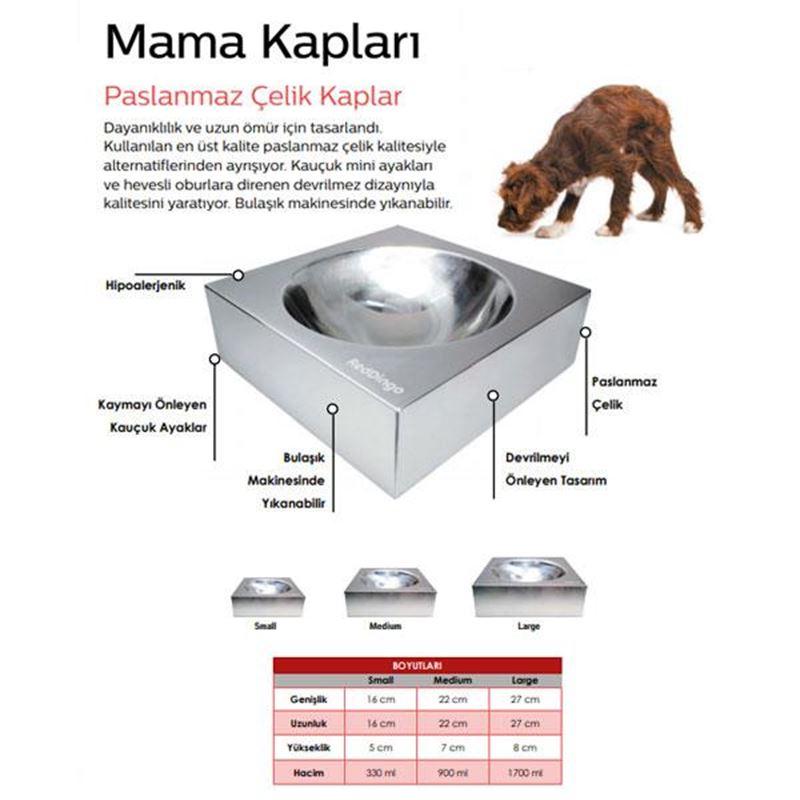 Reddingo Paslanmaz Çelik Mama ve Su Kabı Medium 900 Ml