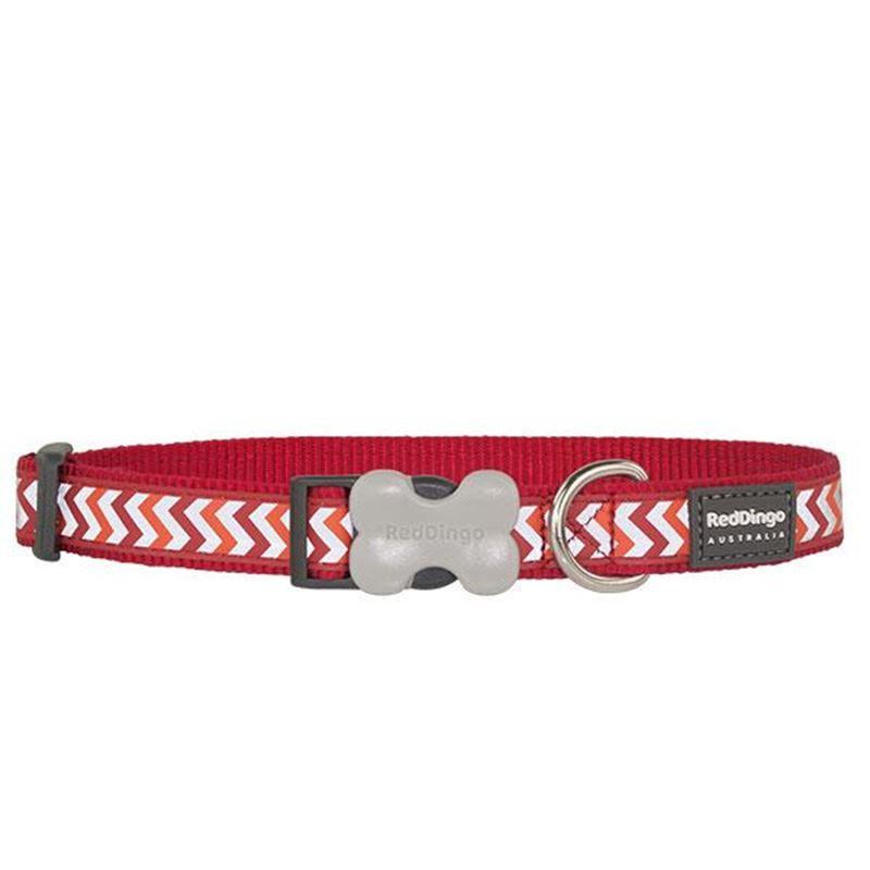 Reddingo Fosforlu Ziggy Desenli Kırmızı Köpek Boyun Tasması 15 Mm