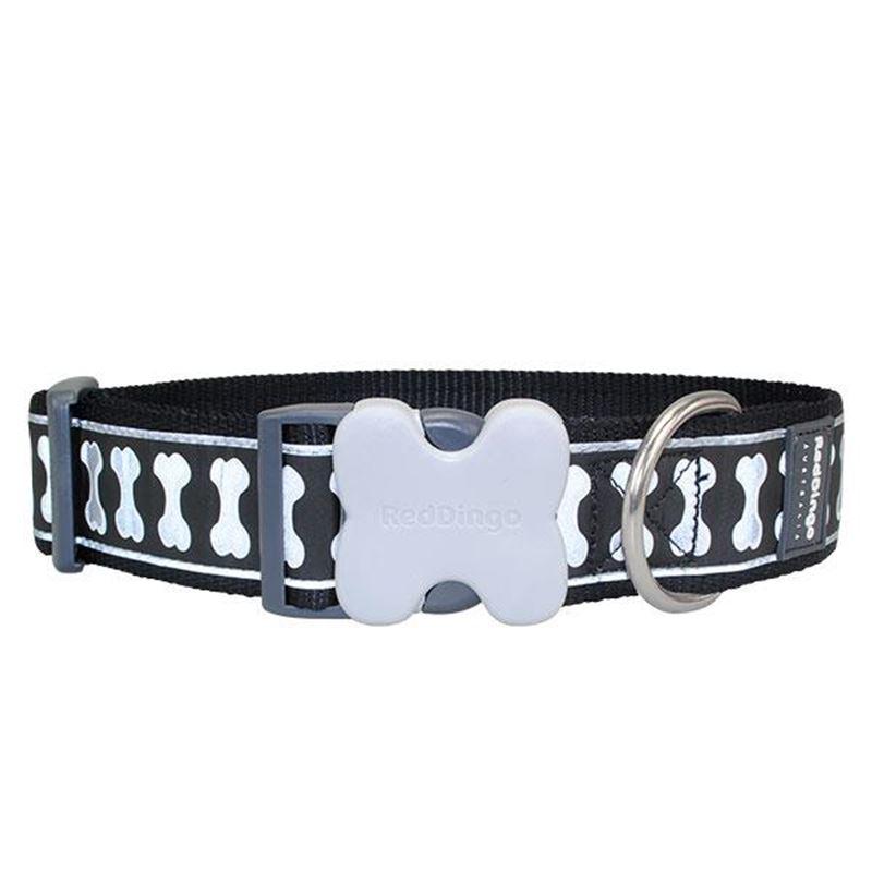 Reddingo Fosforlu Kemik Desenli Siyah Dev Kısa Köpek Boyun Tasması 40 Mm