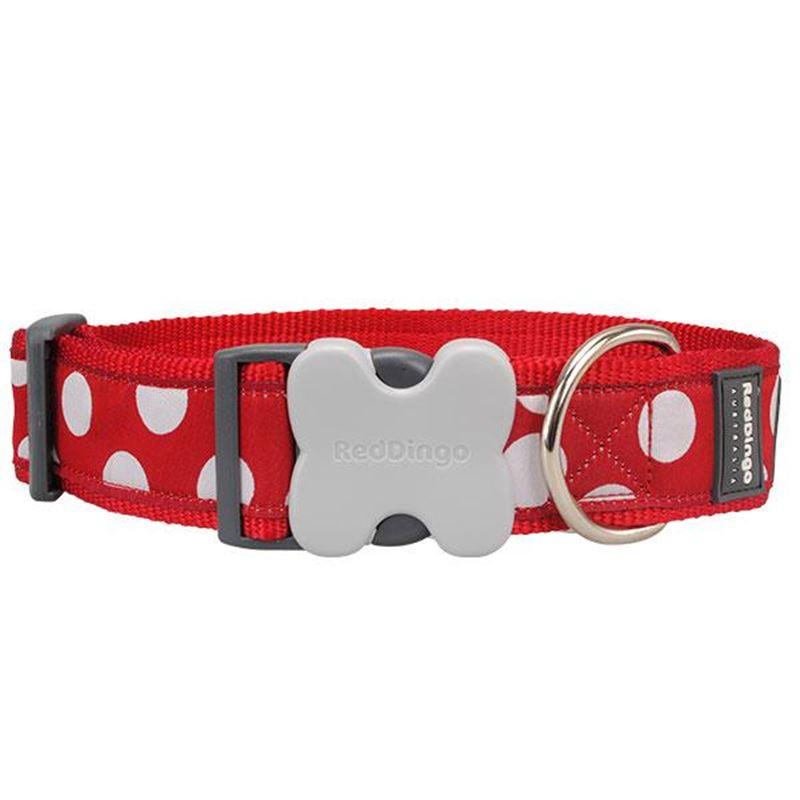 Reddingo Kırmızı Üzerine Beyaz Benek Dev Kısa Köpek Boyun Tasması 40 Mm