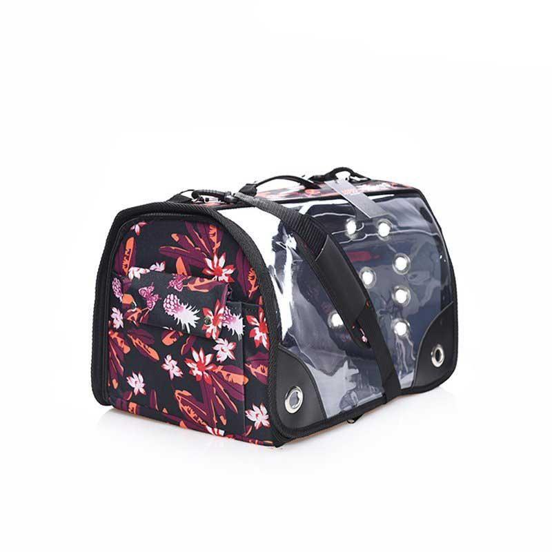 Lepus Şeffaf Fly Bag Kedi Köpek Taşıma Çantası Siyah Çiçek Large
