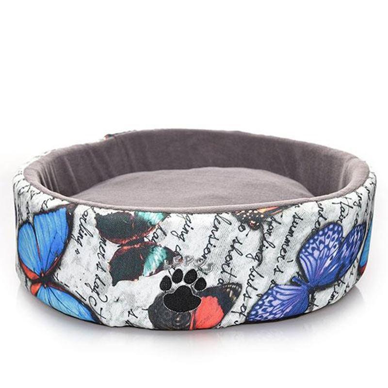 Lepus Kelebek Desenli Sünger Lüx Kedi Köpek Yatağı 50 Cm