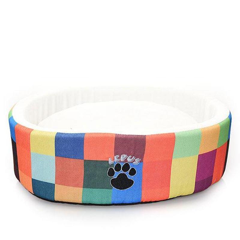 Lepus Gökkuşağı Desenli Sünger Lüx Kedi Köpek Yatağı 50 Cm