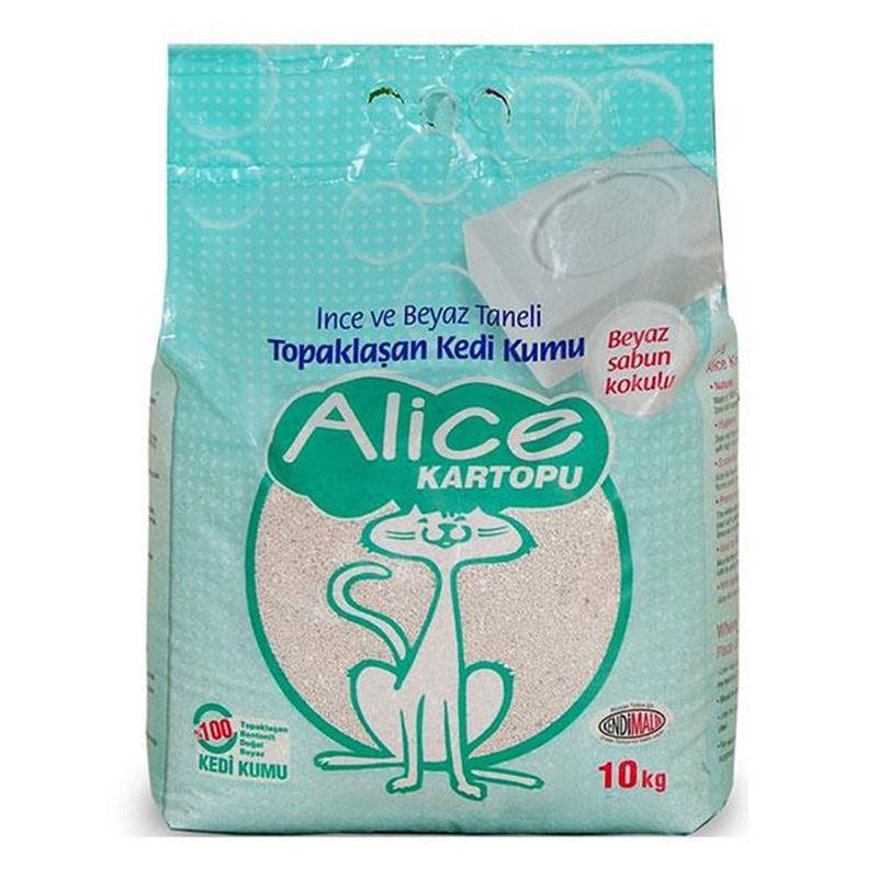 Alice Kartopu İnce Taneli Beyaz Sabun Kokulu Kedi Kumu 10 Kg