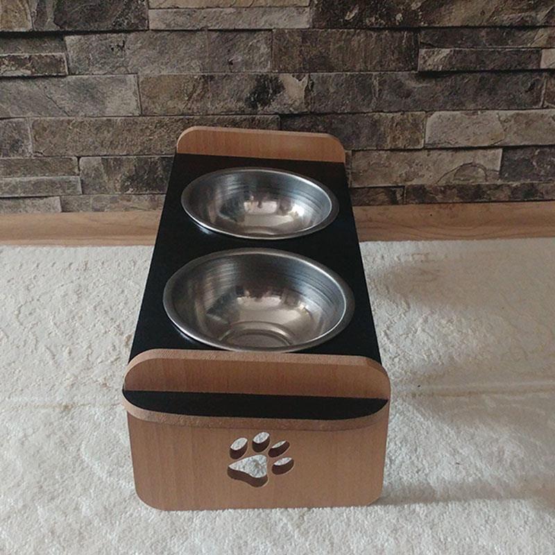 Kayın Siyah Desenli Ahşap İkili Kedi Köpek Mama ve Su Kabı