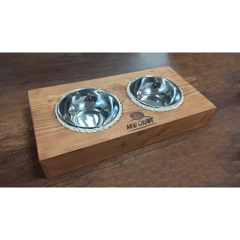 KeoCraft Ahşap İkili Kedi Köpek Mama ve Su Kabı 38 Cm