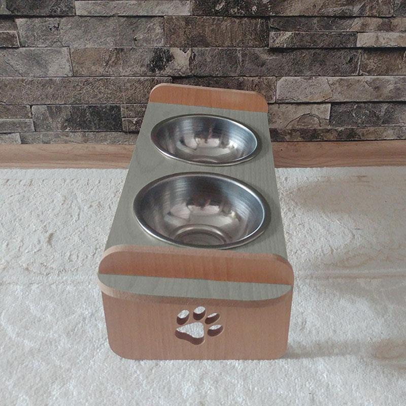 Kayın Gri Desenli Ahşap İkili Kedi Köpek Mama ve Su Kabı